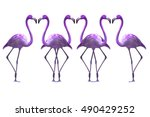 bird flamingo isolated on white ... | Shutterstock . vector #490429252
