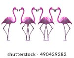 flamingo isolated on white... | Shutterstock . vector #490429282