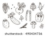 vegetable icons set. funny... | Shutterstock .eps vector #490434736