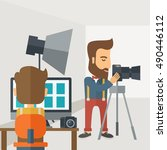 a photography studio with a... | Shutterstock . vector #490446112