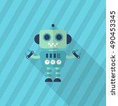 robot icon   vector flat long... | Shutterstock .eps vector #490453345
