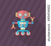 robot icon   vector flat long...   Shutterstock .eps vector #490454002