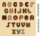 chocolate donuts font. artistic ... | Shutterstock .eps vector #490458082