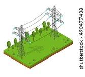 power lines pylons. landscape... | Shutterstock .eps vector #490477438