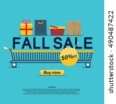 fall sale  icons  buy now ... | Shutterstock .eps vector #490487422