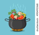 cooking pot on stove with... | Shutterstock .eps vector #490493368