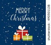 cute cartoon merry christmas... | Shutterstock .eps vector #490501138