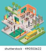 isometric school interior with... | Shutterstock . vector #490503622