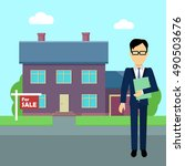 real estate conceptual  in flat ... | Shutterstock . vector #490503676