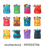 colored school backpacks set.... | Shutterstock . vector #490503706