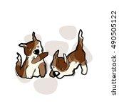 funny cartoon dog. vector... | Shutterstock .eps vector #490505122