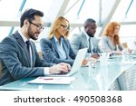 networking at conference | Shutterstock . vector #490508368