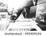 business documents on office... | Shutterstock . vector #490509196