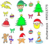 cute color christmas set doodle ... | Shutterstock .eps vector #490515775