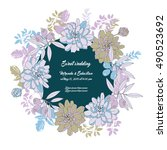 floral wedding invitation with... | Shutterstock .eps vector #490523692