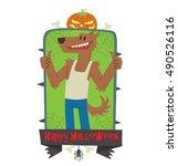 vector green emblem with thorns ... | Shutterstock .eps vector #490526116