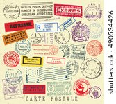 vector document stamp set.... | Shutterstock .eps vector #490534426