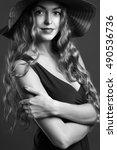 beautiful woman in hat.... | Shutterstock . vector #490536736