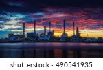 oil refinery industry plant... | Shutterstock . vector #490541935