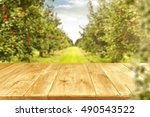wooden table place and green... | Shutterstock . vector #490543522