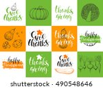 set thanksgiving day cards.... | Shutterstock .eps vector #490548646
