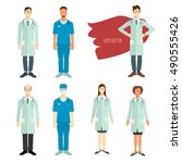 set of doctors in flat style. | Shutterstock .eps vector #490555426