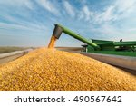 pouring corn grain into tractor ...   Shutterstock . vector #490567642