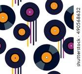 vinyl vector seamless pattern | Shutterstock .eps vector #490568632