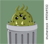 bacteria in the garbage can   Shutterstock .eps vector #490569532