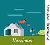 hurricane destroying house and... | Shutterstock .eps vector #490572592