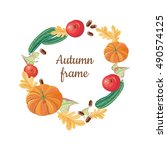 autumn frame. round frame from... | Shutterstock .eps vector #490574125