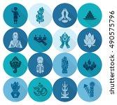 diwali. indian festival icons.... | Shutterstock .eps vector #490575796