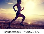 healthy young fitness woman... | Shutterstock . vector #490578472