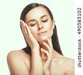 beautiful woman face close up... | Shutterstock . vector #490585102