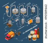 brewery isometric flowchart... | Shutterstock .eps vector #490589662