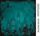 halloween background. horror... | Shutterstock .eps vector #490592302