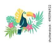tropical bird toucan and exotic ... | Shutterstock .eps vector #490596922