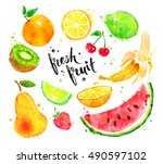 hand drawn watercolor colorful... | Shutterstock . vector #490597102