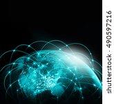 world map on a technological... | Shutterstock . vector #490597216