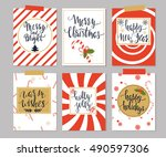set of six winter holidays... | Shutterstock .eps vector #490597306
