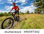 mountain biking man riding on... | Shutterstock . vector #490597342