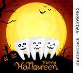 teeth character with pumpkin in ... | Shutterstock .eps vector #490598482