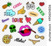 fashion patch badges. stickers  ... | Shutterstock .eps vector #490604836