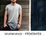 a bearded muscular man wearing... | Shutterstock . vector #490606456