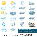 vector weather forecast icons... | Shutterstock .eps vector #490613485
