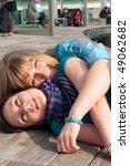portrait of two girls having... | Shutterstock . vector #49062682