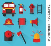 fireman vector. set of... | Shutterstock .eps vector #490626952