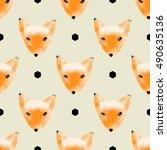 fox seamless pattern  hand... | Shutterstock .eps vector #490635136