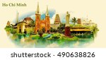 ho chi minh city water color... | Shutterstock .eps vector #490638826