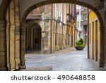 Arcades and columns famous ancient city of Aviles Spain